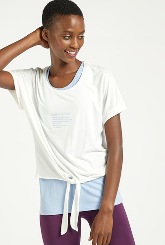 Solid Double Layered T-shirt with Extended Sleeves and Knot Detail