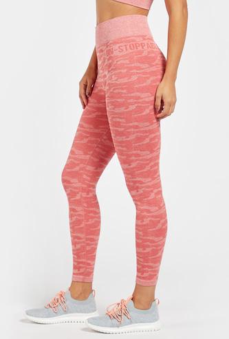 Jacquard Textured Camouflage Print Leggings