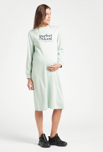 Text Print Maternity Sweat Dress with Long Sleeves