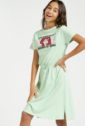 Ariel Print Dress with Short Sleeves and Elasticised Waist