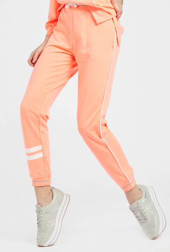 Full Length Solid Jog Pants with Pocket Detail and Drawstring Closure