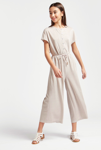 Shimmery Cropped Jumpsuit with Round Neck and Short Sleeves