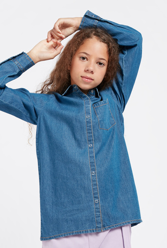 Solid Denim Shirt with Pocket and Long Sleeves