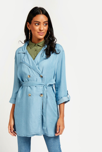 Skinny Fit Solid Denim Trench Coat with Long Sleeves