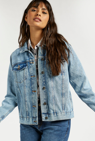 Solid Denim Jacket with Chest Pockets and Long Sleeves