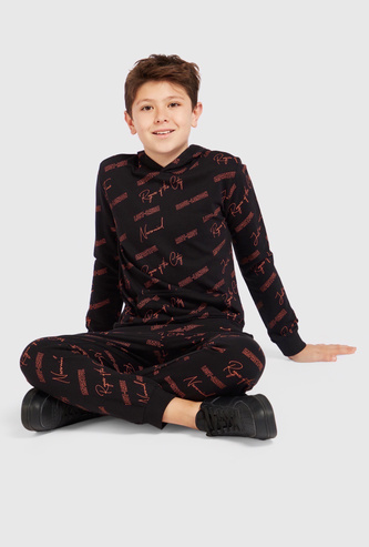Typographic Print Hooded Sweatshirt and Full Length Joggers Set