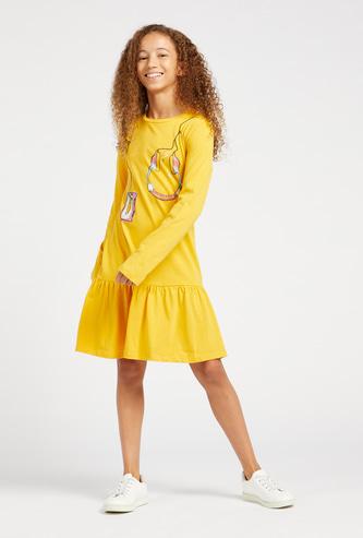 Headphones Print Knee-Length Dress with Long Sleeves