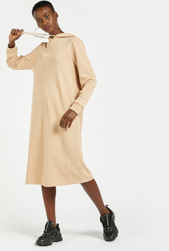 Solid Midi Dress with Long Sleeves and Hood
