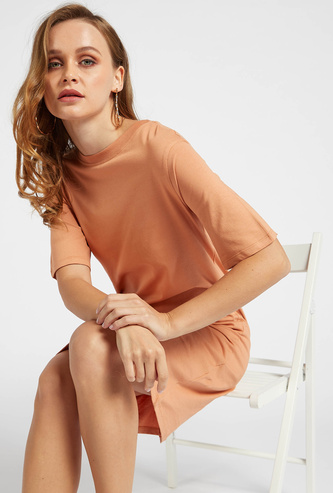 Solid Round Neck Mini T-shirt Dress with Short Sleeves
