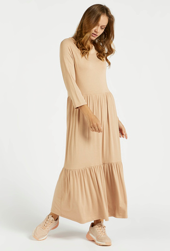 Solid Round Neck Tiered Maxi Dress with 3/4 Sleeves