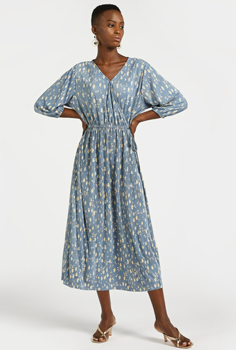 All-Over Daisy Print Midi Wrap Dress with 3/4 Sleeves and Tie-Ups