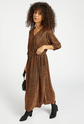 Animal Print Midi A-line Wrap Dress with 3/4 Sleeves