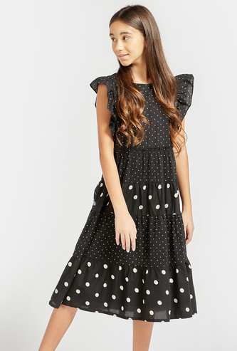 Polka Dots Print Tiered Sleeveless Dress with Round Neck