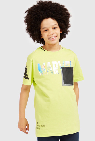 Marvel T-shirt with Short Sleeves and Contrast Patch Pocket