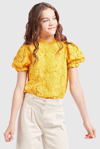 Lace Detail High Neck Top with Short Sleeves