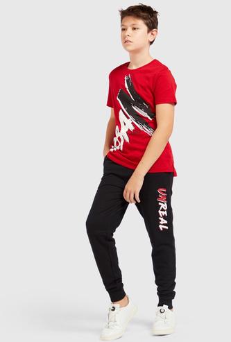Printed Short Sleeves T-shirt and Full Length Jogger Set