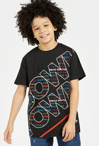 Printed Drop Shoulder T-shirt with Round Neck and Short Sleeves