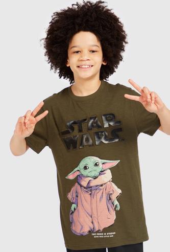 Star Wars Yodo Print T-shirt with Short Sleeves