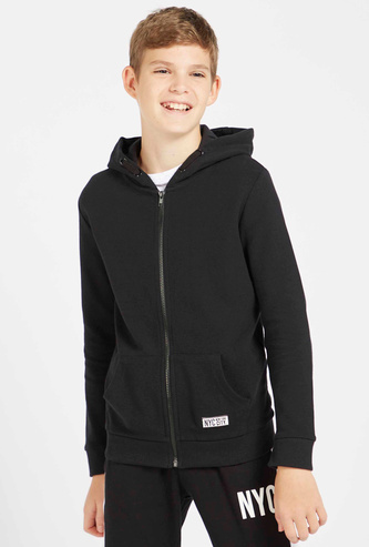 Solid Zip Through Jacket with Hood and Long Sleeves