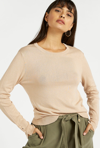Textured Sweater with Long Sleeves and Button Detail