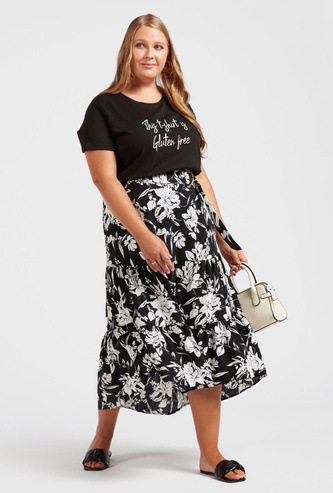 Printed Tiered Midi Skirt with Buckle Detail