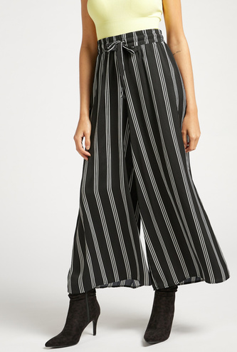 Satin Striped Wide Leg Palazzos with Tie-Up Waist