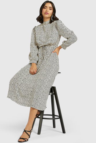 All-Over Leopard Print A-line Midi Dress with Bishop Sleeves
