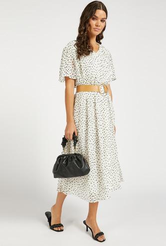 Polka Dot Print Midi A-line Pleated Dress with D-ring Belt
