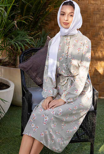 فستان قميص ميدي بأكمام بيشوب وأربطة وطبعات زهرية