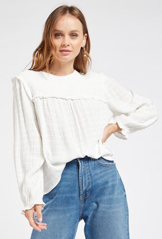 Textured Top with Long Sleeves and Smocking Detail