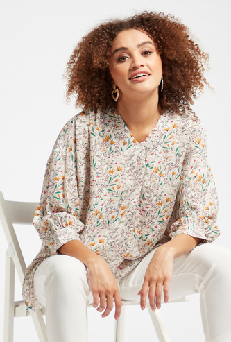 Floral Print Notched V-neck Blouse with 3/4 Sleeves