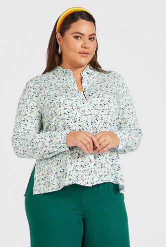 Floral Print Long Sleeves Shirt with Button Closure