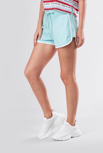 Contrast Hem Styled Shorts with Drawstring Closure