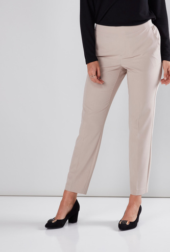 Full Length Trousers with Elasticised Waistband and Pocket Detail