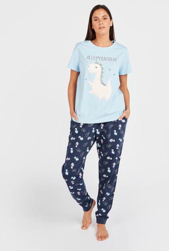 Sleepysaurus Print Short Sleeves T-shirt and Pyjamas Set