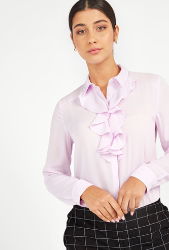 Solid Shirt with Long Sleeves and Ruffle Detail