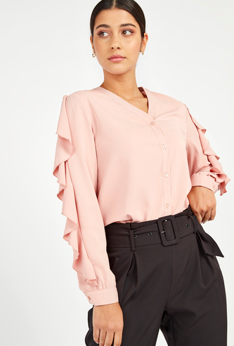 Solid Shirt with V-neck and Ruffle Detail Long Sleeves