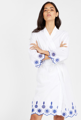 Embroidered Detail Robe with Long Sleeves and Tie Ups