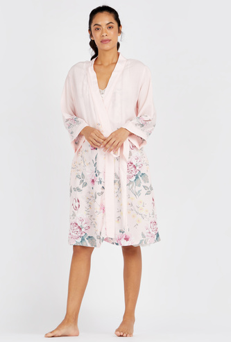 Floral Print Robe with Long Sleeves and Tie Up Detail