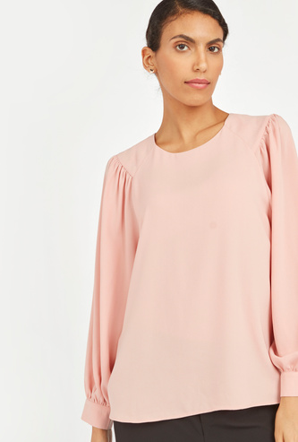 Solid Round Neck Top with Long Bishop Sleeves