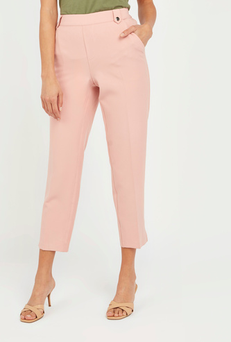 Solid Regular Fit Low-Rise Pants with Embellished Belt Loops