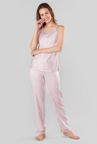 Lace Detail Sleeveless Top and Full Length Pyjama Set