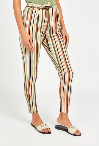 Stripe Detail Cropped Trousers with Pockets and Belt