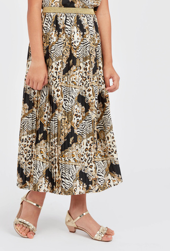 Pleated Skirt with Print