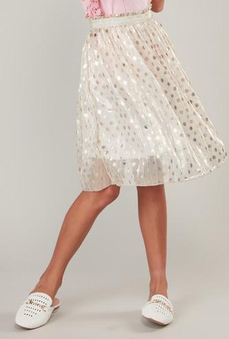 Polka Dots Print Skirt with Elasticised Waistband
