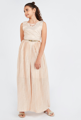 Embellished Sleeveless Jumpsuit with Round Neck and Belt