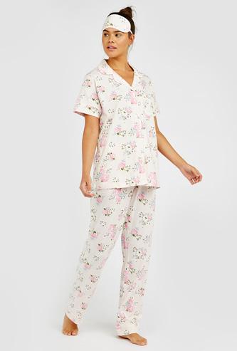 Floral Print 3-Piece Nightwear Set with Reversible Eye Mask