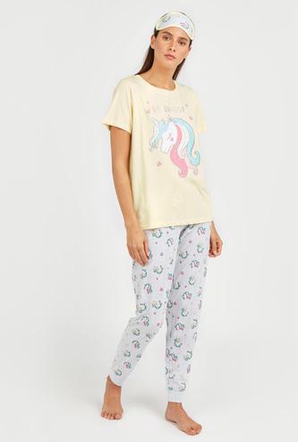 Unicorn Print 3-Piece Sleepwear Set with Reversible Eye Mask