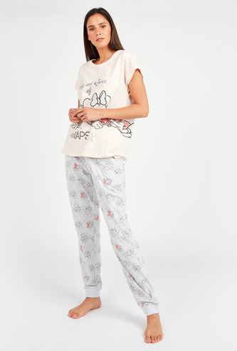 Mickey and Minnie Mouse Print Short Sleeves T-shirt and Pyjamas Set