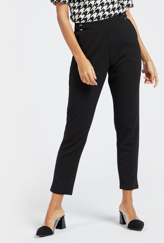 Knit Cropped Pants with Pockets and Elasticised Waistband